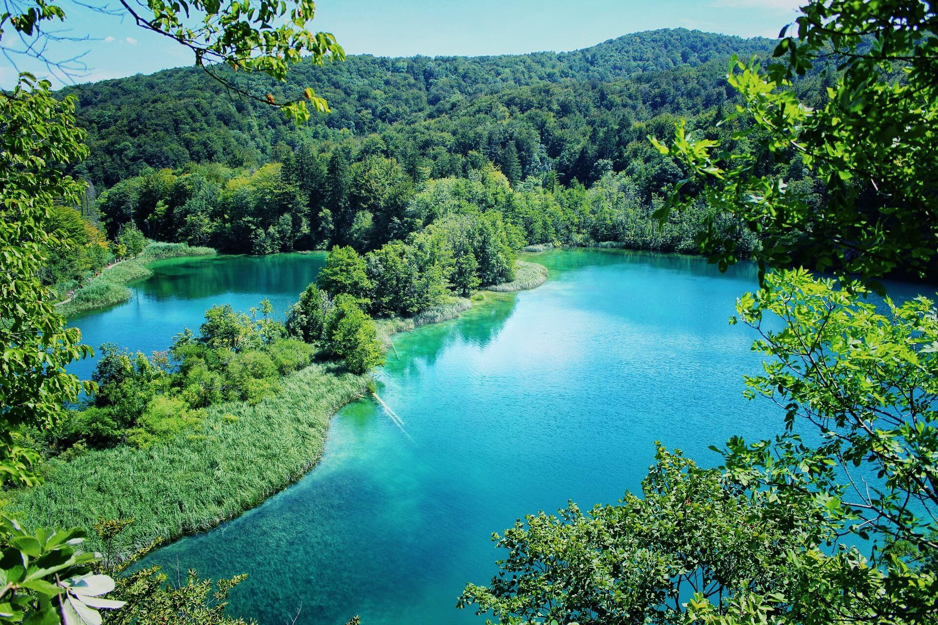 Aerial view of the Plitvice lakes